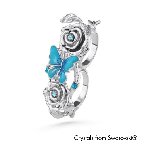 Ganya Open Double Ring Blue Zircon Pure Rhodium Plated Lush Addiction Crystals from Swarovski
