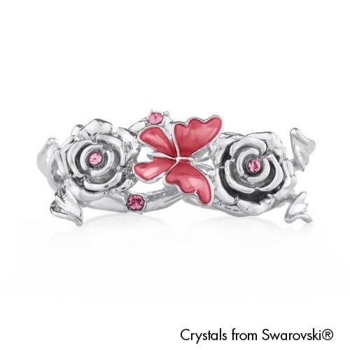 Ganya Open Double Ring Rose Pure Rhodium Plated Lush Addiction Crystals from Swarovski