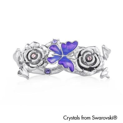 Ganya Open Double Ring Tanzanite Pure Rhodium Plated Lush Addiction Crystals from Swarovski