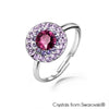Cloris Ring (Amethyst, Pure Rhodium Plated) - Lush Addiction, Crystals from Swarovski®