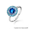 Cloris Ring (Capri Blue, Pure Rhodium Plated) - Lush Addiction, Crystals from Swarovski®