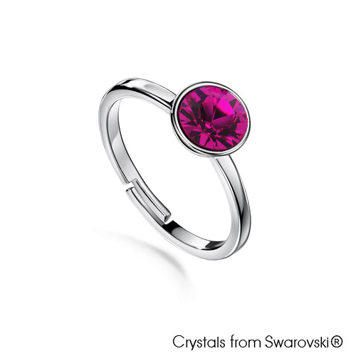 Solitaire Birthstone Ring (Amethyst, Pure Rhodium Plated) - Lush Addiction, Crystals from Swarovski