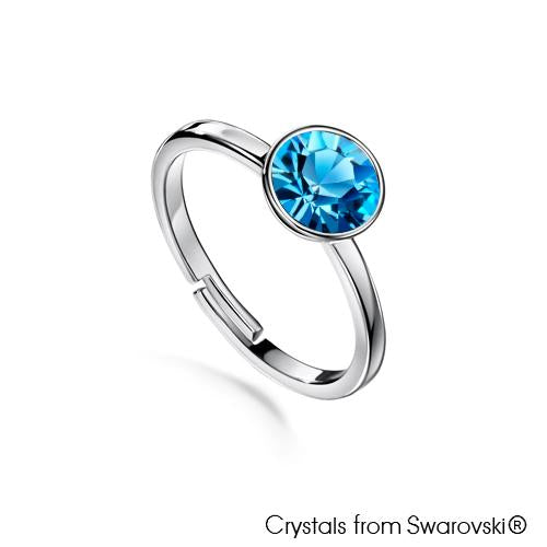 Solitaire Birthstone Ring (Aquamarine, Pure Rhodium Plated) - Lush Addiction, Crystals from Swarovski