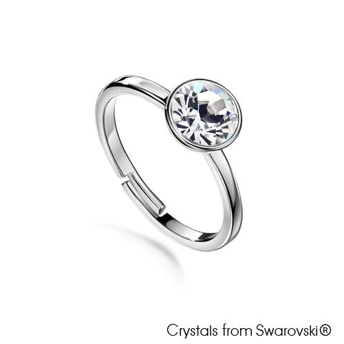 Solitaire Birthstone Ring (Clear Crystal, Pure Rhodium Plated) - Lush Addiction, Crystals from Swarovski