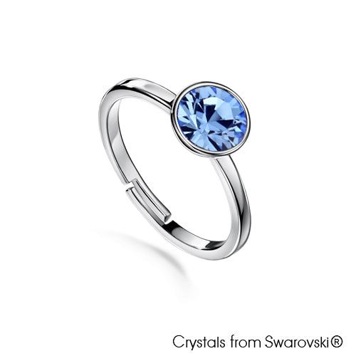 Solitaire Birthstone Ring (Light Sapphire, Pure Rhodium Plated) - Lush Addiction, Crystals from Swarovski