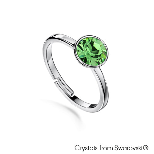 Solitaire Birthstone Ring (Peridot, Pure Rhodium Plated) - Lush Addiction, Crystals from Swarovski