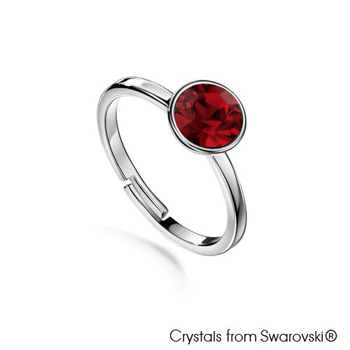 Solitaire Birthstone Ring (Ruby, Pure Rhodium Plated) - Lush Addiction, Crystals from Swarovski