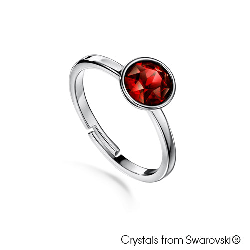 Solitaire Birthstone Ring (Garnet, Pure Rhodium Plated) - Lush Addiction, Crystals from Swarovski