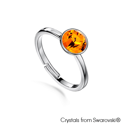 Solitaire Birthstone Ring (Topaz, Pure Rhodium Plated) - Lush Addiction, Crystals from Swarovski