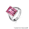 Nora Ring (Light Amethyst, Pure Rhodium Plated) - Lush Addiction, Crystals from Swarovski®
