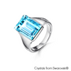 Nora Ring (Light Azure, Pure Rhodium Plated) - Lush Addiction, Crystals from Swarovski®