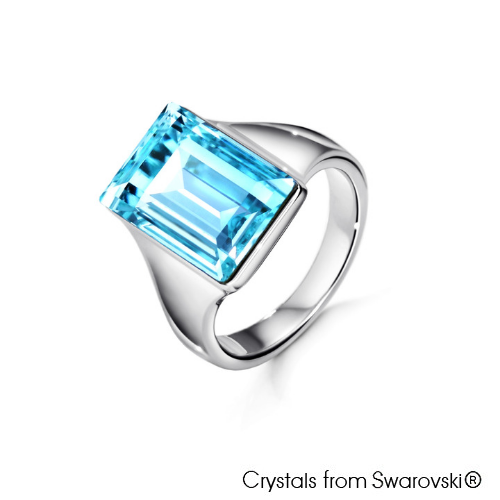Nora Ring (Light Azure, Pure Rhodium Plated) - Lush Addiction