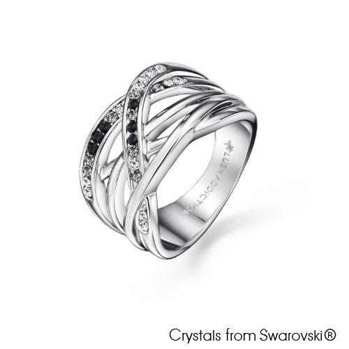 Fortitude Ring (Jet, Pure Rhodium Plated) - Lush Addiction