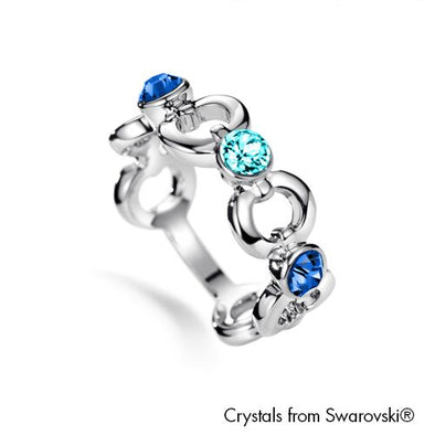 Infinity Ring (Sapphire, Pure Rhodium Plated) - Lush Addiction, Crystals from Swarovski®