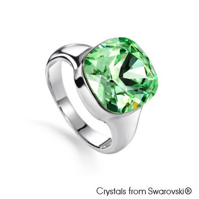 Justine Ring (Chrysolite, Pure Rhodium Plated) - Lush Addiction, Crystals from Swarovski®