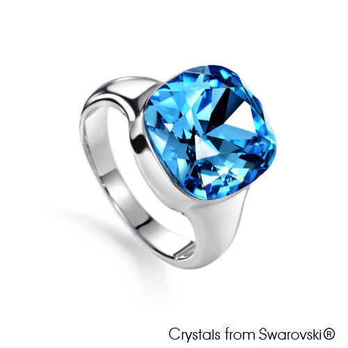 Justine Ring (Light Sapphire, Pure Rhodium Plated) - Lush Addiction, Crystals from Swarovski®