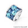 Parvis Ring (Aquamarine, Pure Rhodium Plated) - Lush Addiction, Crystals from Swarovski®