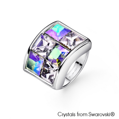 Parvis Ring (Smoke Mauve, Pure Rhodium Plated) - Lush Addiction, Crystals from Swarovski®