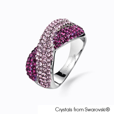Rebecca Ring (Fuchsia, Pure Rhodium Plated) - Lush Addiction, Crystals from Swarovski®