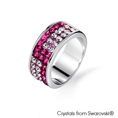Kyla Ring (Fuchsia, Pure Rhodium Plated) - Lush Addiction, Crystals from Swarovski®