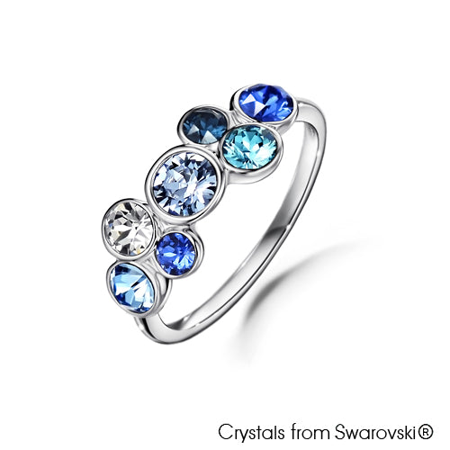 Symphony Ring (Montana, Pure Rhodium Plated) - Lush Addiction, Crystals from Swarovski®