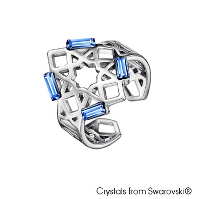 Mosaic Ring (Light Sapphire, Pure Rhodium Plated) - Lush Addiction, Crystals from Swarovski®