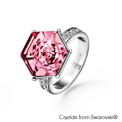Vision Ring Vintage Rose Pure Rhodium Plated Lush Addiction Crystals from Swarovski