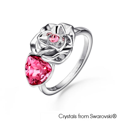 Trilliant Rose Ring (Rose, Pure Rhodium Plated) - Lush Addiction, Crystals from Swarovski®