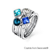 Candy Ring (Montana, Pure Rhodium Plated) - Lush Addiction, Crystals from Swarovski®