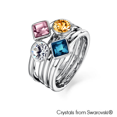 Candy Ring (Multi Colour, Pure Rhodium Plated) - Lush Addiction