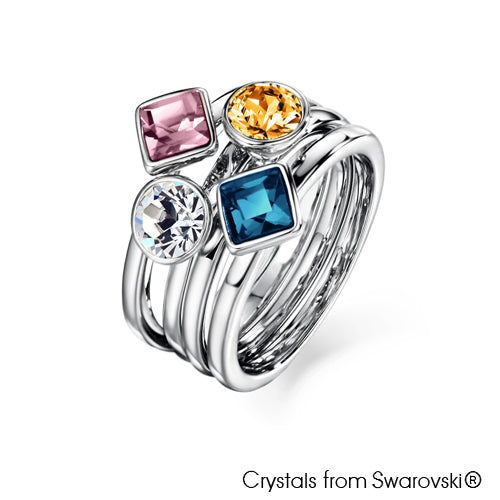 Candy Ring (Multi-Colour, Pure Rhodium Plated) - Lush Addiction, Crystals from Swarovski®
