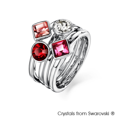 Candy Ring (Rose, Pure Rhodium Plated) - Lush Addiction, Crystals from Swarovski®