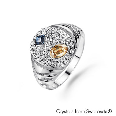 Glamourous Ring (Multi Colour, Pure Rhodium Plated) - Lush Addiction, Crystals from Swarovski®