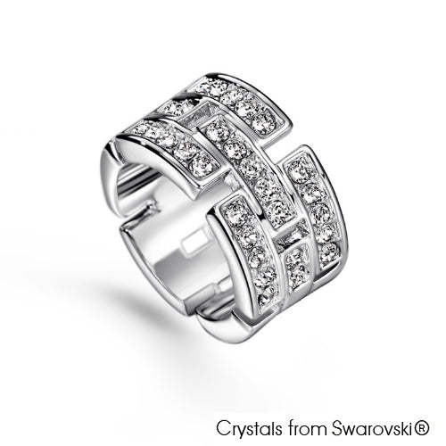 Glamour Ring (Clear Crystal, Pure Rhodium Plated) - Lush Addiction, Crystals from Swarovski®