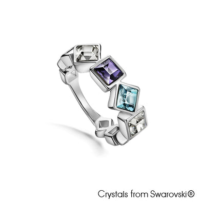 Opulence Ring (Tanzanite, Pure Rhodium Plated) - Lush Addiction, Crystals from Swarovski®