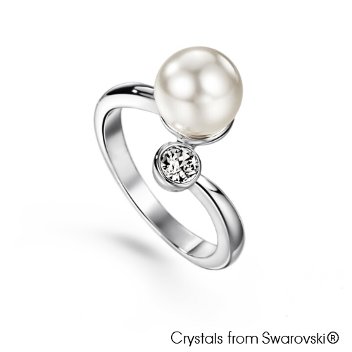 Elegant Swarovski Pearl Ring (Clear Crystal, Pure Rhodium Plated) - Lush Addiction, Crystals from Swarovski®