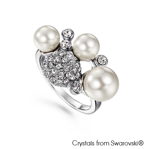 Grapevine Ring (Clear Crystal, Pure Rhodium Plated) - Lush Addiction, Crystals from Swarovski®