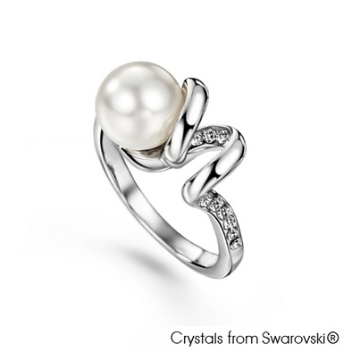 Lustrous Ring (Clear Crystal, Pure Rhodium Plated) - Lush Addiction, Crystals from Swarovski®