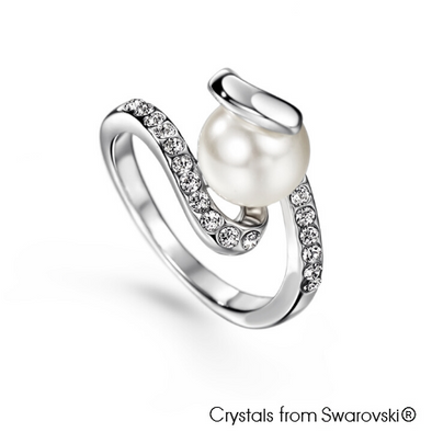 Allure Ring (Clear Crystal, Pure Rhodium Plated) - Lush Addiction, Crystals from Swarovski®