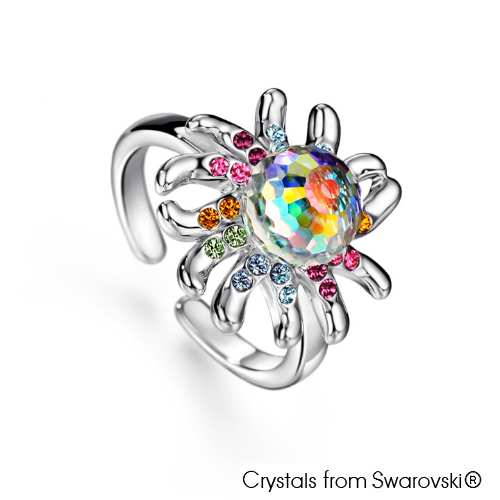 Jellyfish Ring (Multi Colour, Pure Rhodium Plated) - Lush Addiction