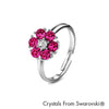 Flower Birthstone Ring (Amethyst, Pure Rhodium Plated) - Lush Addiction, Crystals from Swarovski