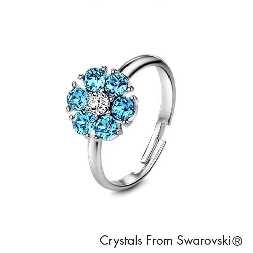 Flower Birthstone Ring (Aquamarine, Pure Rhodium Plated) - Lush Addiction, Crystals from Swarovski