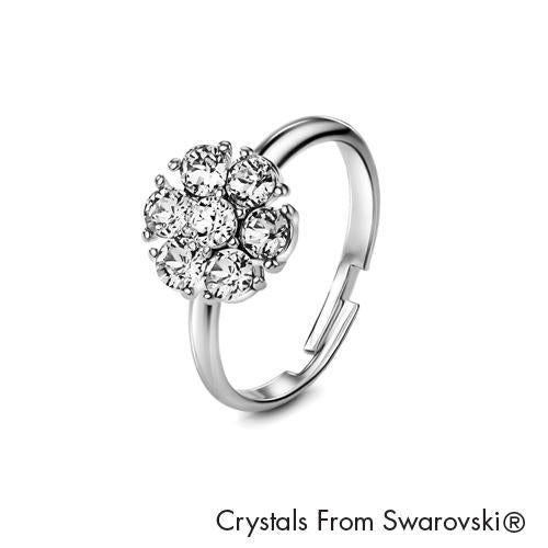 Flower Birthstone Ring (Clear Crystal, Pure Rhodium Plated) - Lush Addiction, Crystals from Swarovski