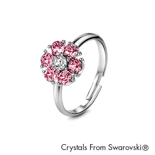 Flower Birthstone Ring (Light Amethyst, Pure Rhodium Plated) - Lush Addiction, Crystals from Swarovski