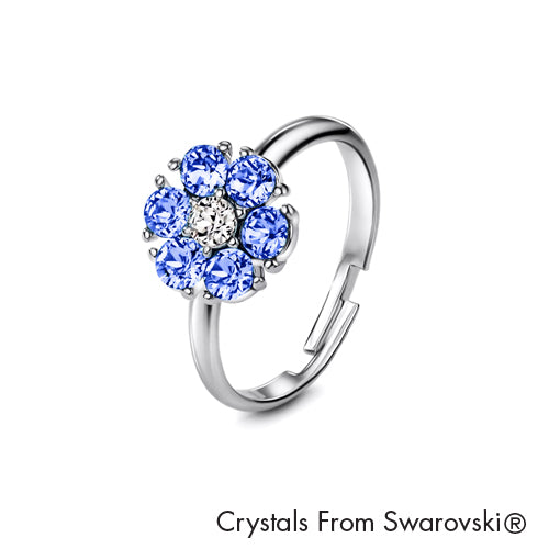 Flower Birthstone Ring (Light Sapphire, Pure Rhodium Plated) - Lush Addiction, Crystals from Swarovski