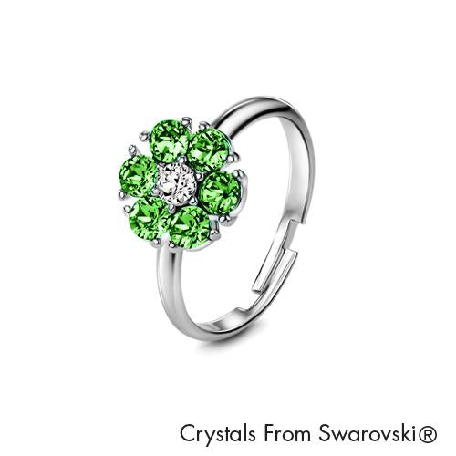 Flower Birthstone Ring (Peridot, Pure Rhodium Plated) - Lush Addiction, Crystals from Swarovski