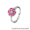 Flower Birthstone Ring (Rose, Pure Rhodium Plated) - Lush Addiction, Crystals from Swarovski