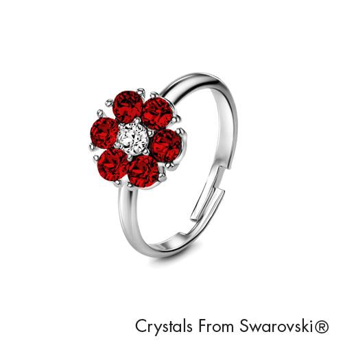 Flower Birthstone Ring (Ruby, Pure Rhodium Plated) - Lush Addiction, Crystals from Swarovski