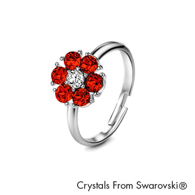 Flower Birthstone Ring (Garnet, Pure Rhodium Plated) - Lush Addiction, Crystals from Swarovski