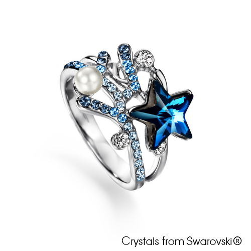 Coralyne Ring (Pure Rhodium Plated) - Lush Addiction, Crystals from Swarovski®